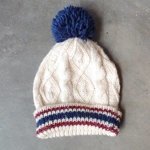 Forever 21 Cable Knit Striped Pom Beanie Hat